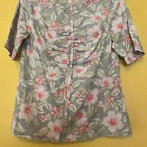 New Rebecca Taylor Top Grey Tropical Floral Short Sleeve Nwt Size Medium 225 Photo