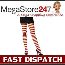 New Red and White Striped Tights Adult Fancy Dress Photo