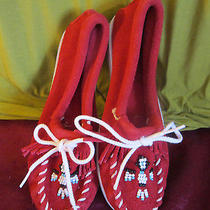 New Red Minnetonka Thunderbird Beaded Suede Moccasins Sz 2 White Hard Sole Nr Photo