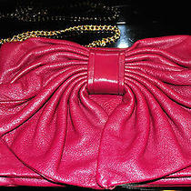 New Red Valentino Bow Clutch Leather Handbag W. Chain Strap Purse Raspberry Red Photo