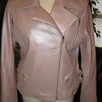New Reed Leather Blush Pink Fitted Jacket Women L Photo