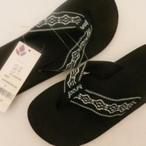 New Reef Us 5 'Sandy'  Black Flip Flop Thong Sandals Aqua & Silver Straps Photo