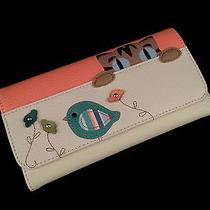 New  Relic by Fossil  Beige-Pink  Leather Kitty Cat & Bird Bifold Wallet  Photo