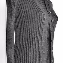 New Ribbed Knit Turtleneck Shell Top & Cardigan Twin Set Silver Fleck S 32/33 Photo
