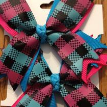 New  Ribbon Spike Pink/aqua Plaid  Hair bows.set of 2 Photo