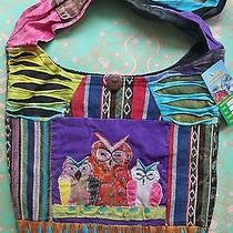 New Rising International Purple Owl Patchwork Cross Body Bag Hobo Purse Nwt Photo