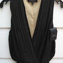 New Robert Rodriguez Pleated 'Little Black Dress' Moc Wrap Crossover Silk 0 425 Photo
