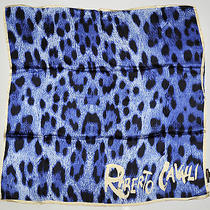 New Roberto Cavalli Scarve Shawl Wrap Scarf Square Silk Leopard Blue Black Photo