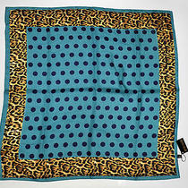 New Roberto Cavalli Scarve Shawl Wrap Wool Scarf Soft  Leopard Square Green Photo