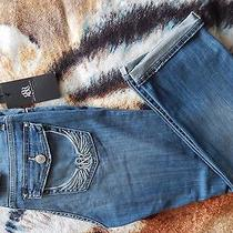 New Rock & Republic Authentic Kendall Embellished Capri Jeans Med Blue Size 10 Photo