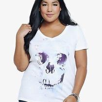 New Rockabilly Goth Torrid White Galaxy Skull v-Neck Watercolor Top 1x Photo