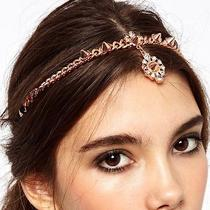New Rose Gold Plated Alloy Forehead Crystal Rivets Pendant  Hair Band  Photo