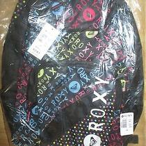 New Roxy Backpack Book School Student Bag Shadow View Colorful Logo Black Photo