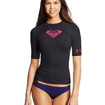 New Roxy Black Whole Hearted Long Sleeve Swimsuit Cover Up Rash Gaurd Sz 4 Black Photo