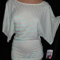 Newroxy Cream Green Flattering Side Stripe Cotton Batwing Peasant Tunic Top M Photo