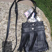 New Roxy Fringe Crossbody Mini Handbag Hobo Purse Vegan Bag Black Photo