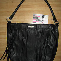 New Roxy Handbag Hobo Purse Tote Vegan Shoulder Bag Fringe Black Photo