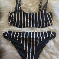 New Roxy Navy Striped Athletic Bikini Top Bottom Size Medium Large 4 Express Photo