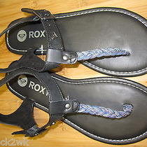 New Roxy Sandals Flip Flops Shoes 6.5 7 37 Black Blue Pu Vegan Ambrosia Photo