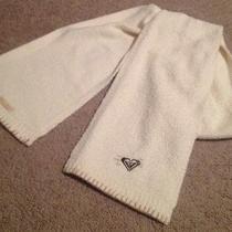 Newroxy Super Soft Fleece Knit Logo Scarf Off White Creme Tan Accent Photo
