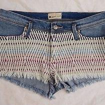 New Roxy Womens Denim Tribal Embroidered High Rise Waisted Shorts Size 7 Photo