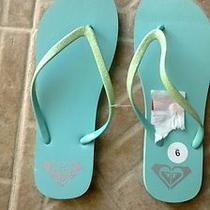 New Roxy Womens Teal Aqua Green Blue Glitter Womens Sandals Flip Flops Thongs 9  Photo
