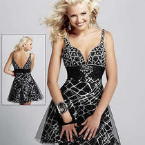 New Rrp 560 Blush Prom Black Crystal Incrusted Dress 18 Last Photo