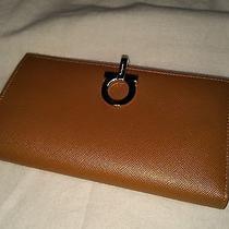 New Salvatore Ferragamo Gancini Clip French Wallet Saffiano Leather Camel Gold  Photo