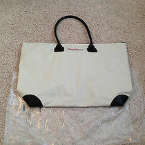 New Salvatore Ferragamo Parfumes Large Tote Travel Bag Beige and Brown Xl Photo