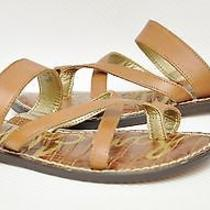 New Sam Edelman Krys Leather Thong Ring Toe Slide Flip-Flop Sandal Shoe Brown 6 Photo