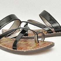 New Sam Edelman Krys Patent Thong Ring Toe Slide Flip-Flop Sandal Shoe Black 6.5 Photo