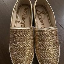 New Sam Edelman Women's Khloe Leather Loafer Mules Flats Gold Metallic Size 6 Photo
