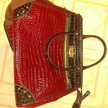 New Samantha Brown Large Shopper Tote Bag Maroon Croc-Embossed Pvc Trim Photo
