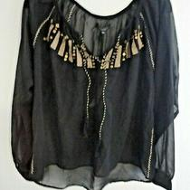 New Sanctuary 95 Sheer Black & Gold Embroidered Sequin Blouse Top Size Small S Photo