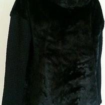 New Sanctuary Clothing  Faux Fur Cowl Neck Fabric Sleeves Black Sweater Top sz.s Photo