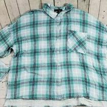 New Sanctuary Easy Boyfriend Shirt Bloom Green Blue Plaid Top Womens Size Large Photo