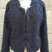 New Sanctuary Los Angeles Navy Tweed Fringe Blazer Jacket Sz L Photo