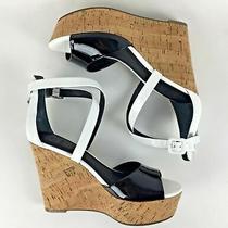 New Sandals Shoes Black White 8 M Guess Gw Gacinta Wedge Strappy Party Nwt Nib  Photo