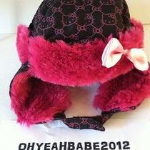 New Sanrio Hellokitty Girl/kids Fur-Lined Trapper Winter Warm Hat/cap Black Pink Photo