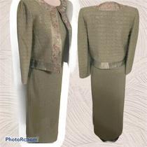New Santana Knit St. John 3 Pc Skirt Jacket Tank Suit Sz 6 Mint Green Shimmer Photo