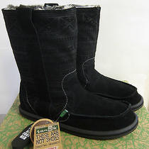 New Sanuk Wanderer Primo Women's Boot Black Suede Leather Fur Lined Pull-on Ugg Photo