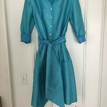 New Sara Campbell Blue Double Faced Taffeta Shirt Dress Size 8 Nwt 338 Photo
