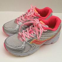 New Saucony Cohesion 6ltt White/pink/citron Girls Athletic Shoes Size 2w Photo