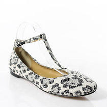 New See by Chloe Black White Print Canvas Ballet Flats Sz 38 8 in Dust Bag Photo