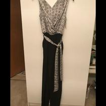 New Sexy Black & White Jumpsuit v-Neck 2-Stunning Sz 2 Small Photo