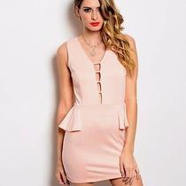 New Sexy Blush Pink Rose Career Sexy Mini Ruffled Rave Cocktail Club Dress S M L Photo
