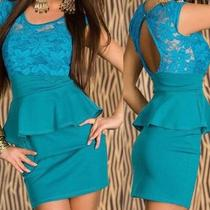 New Sexy Clubwear Blue Sunflower Lace Panel Peplum Mini Dress 2768-1 Photo