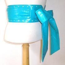 New Sexy Kimono Wrap Crystal Rhinestone Studded Wide Sash Belt Teal Aqua Blue Photo