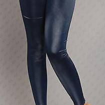 New Sexy Leather Look Dark Blue Leggings Smooth Pants Subtle Shine 12 14  Party Photo