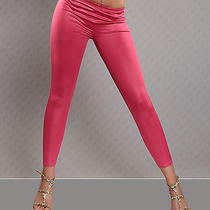 New Sexy Leather Look Pink Leggings Smooth Pants Subtle Shine L/xl 12 14 Party Photo
